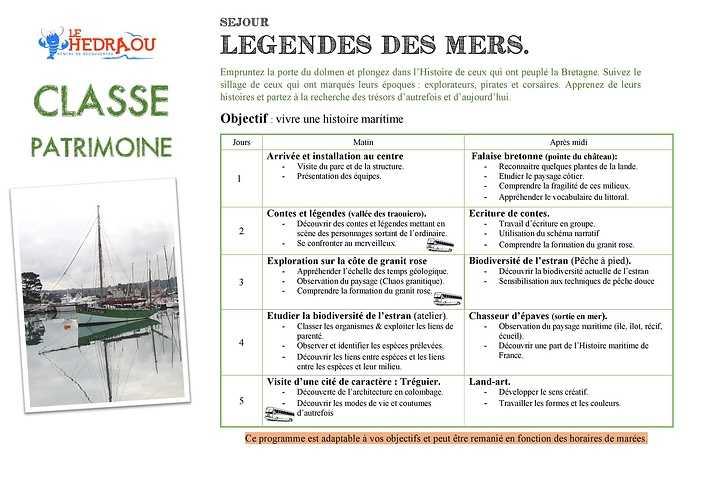 Classe Patrimoine - Les légendes des Mers 0